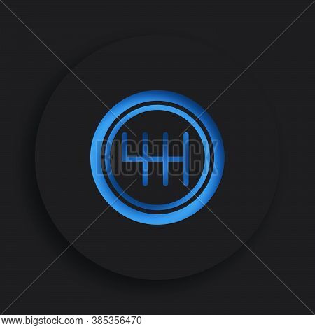 Gearbox Lever Icon In Neomorphism Style On Dark Background. Car Gearbox, Transmission Repair In Serv