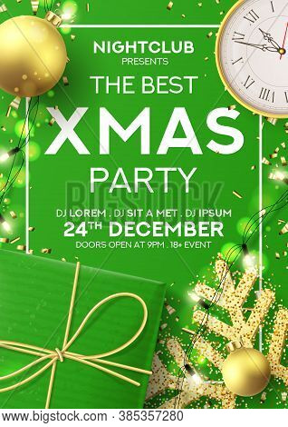 Christmas Party Flyer Invitation. Holiday Background With Realistic Green Gift Box, Gold Snowflake A