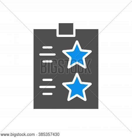 Check List With Stars Colored Icon. Tablet With Paper To The Rating, Test, Questionare Symbol