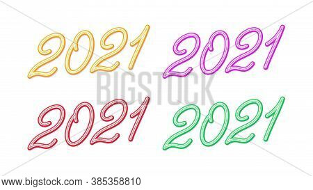 Outline Number 2021 For New Year, Set Of Inclined Lettering, Isolated Rounded Digits With Skew. For
