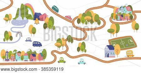 Vector Trail Map With Pathways And Camp, Mountains, Waterfall, River And Trekking. Map Of The Tiny C
