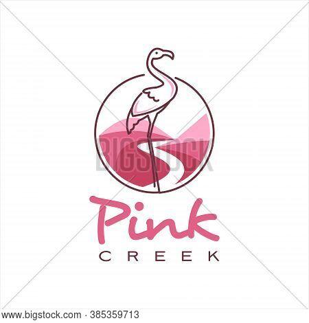 Creek Logo Simple Pink Valley With Line Art Flamingo Bird Nature Hill Vector Design Template Inspira