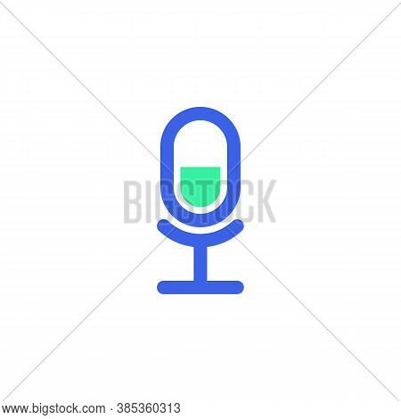Microphone Icon Vector, Filled Flat Sign, Bicolor Pictogram, Sound Record Mic Green And Blue Colors.