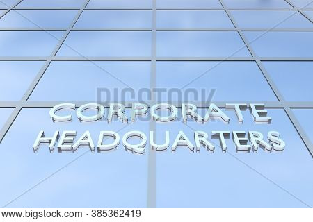 3d Illustration Of A Building With The Script Corporate Headquarters.