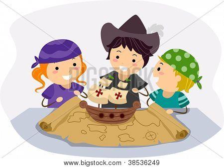 Illustration of Kids Celebrating Columbus Days by Pretending to be Navigators poster