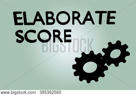 3d Illustration Of Elaborate Score Text Along With Two Engaged Gears, Isolated Over Green Gradient.