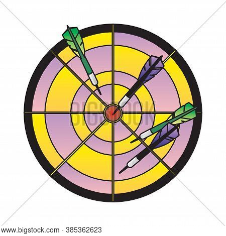 Dartboard With Darts On A White Background In Eps10