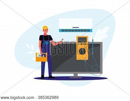 Repair, Maintenance Technician For Air Conditioning Flat Vector Illustration.