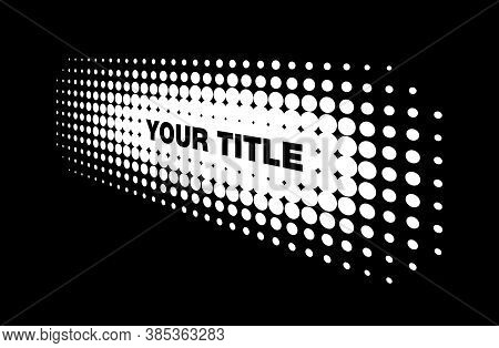 Halftone White Horizontal Perspective Frame Abstract Dots Logo Emblem Design Element For Technology,