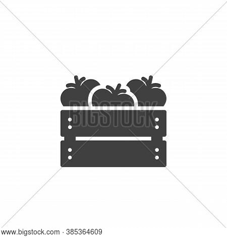 Tomato Harvest Box Vector Icon. Filled Flat Sign For Mobile Concept And Web Design. Tomatoes Crate B