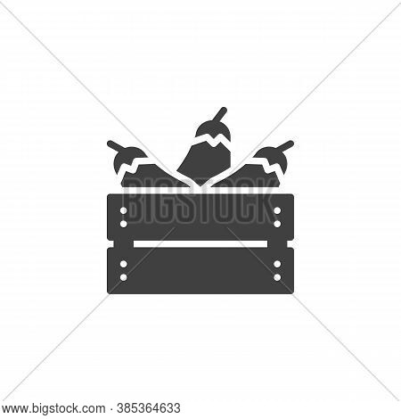 Eggplant Harvest Box Vector Icon. Filled Flat Sign For Mobile Concept And Web Design. Aubergine Crat