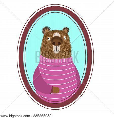 Portrait Of A Cartoon Cute Shaggy Bear In A Beautiful Striped Sweater, Animal Postcard, Poster, Prin