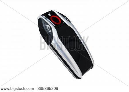 Modernf Wireless Car Key Ignition Isolated On White Background. Wireless Start Engine Key. Car Key R