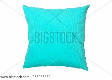 Blue And Clean Pillow Isolated On White Background With Clipping Path. Close-up Of Blue Pillow Isola