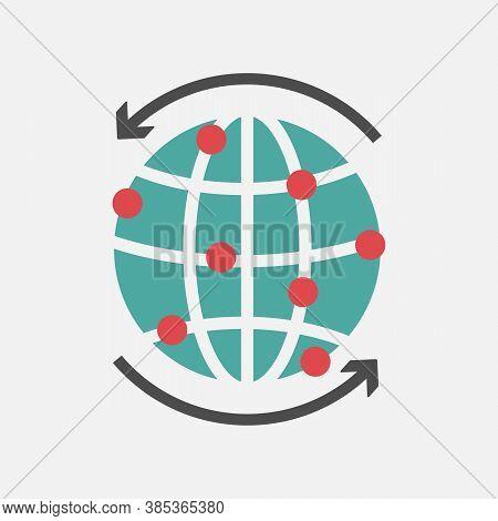 Globe Icon, World Wide Icon Flat Design