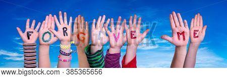 Children Hands Building Word Forgive Me, Blue Sky