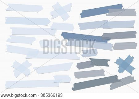 Set Of Blue Different Size Adhesive, Sticky, Masking, Duct Tape, Paper Pieces Are On White Backgroun