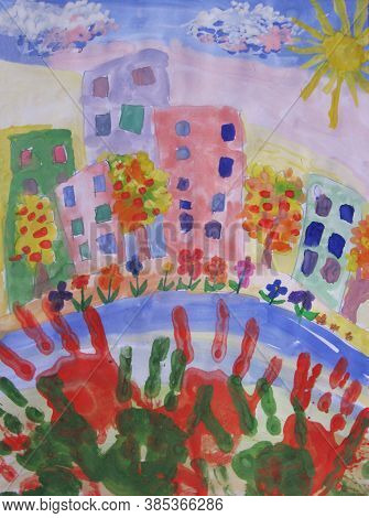 Colorful Watercolor Children Handprints Around The City On The Blue Background