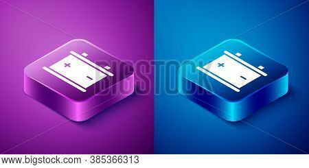 Isometric Car Battery Icon Isolated On Blue And Purple Background. Accumulator Battery Energy Power