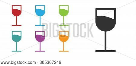 Black Wine Glass Icon Isolated On White Background. Wineglass Sign. Set Icons Colorful. Vector Illus