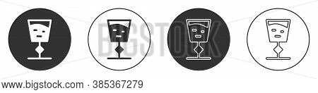 Black Wine Glass Icon Isolated On White Background. Wineglass Sign. Circle Button. Vector Illustrati