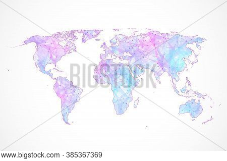 Communications Network Map Of The World. Map Of The Planet. Plexus World Map. Global Social Network.