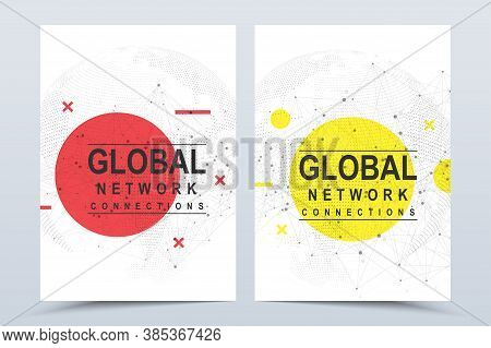 Business Vector Templates For A4 Cover, Brochure, Flyer, Booklet, Magazine, Annual Report. Global Ne