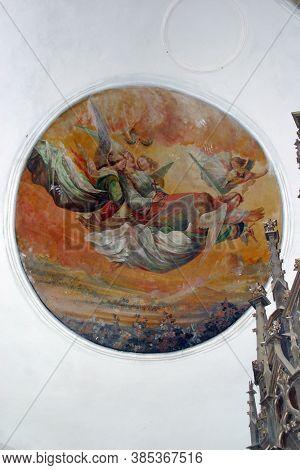 DAPCI, CROATIA - SEPTEMBER 22, 2013: Saint Catherine Carried up to Heaven by Angels, fresco in the parish church of St. Catherine of Alexandria in Dapci, Croatia