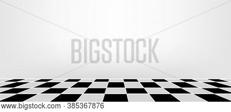Wall And Checkered Tile Ceramic Black White For Architecture Background, Empty Tiled Floor Inside Ro