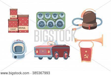 Made In Ussr Set. Red Tin Cans Storing Flour Sugar Retro Vacuum Cleaner Soviet Cosmonauts Helmet Ped