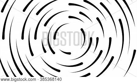 Circle Line Black Swirl Burst On White Background, Swirl Circle Art Line Spiral Shape, Cycle Spiral