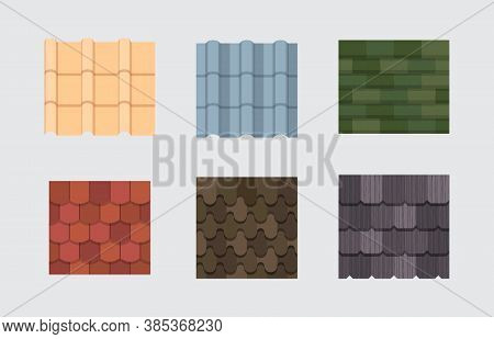 Roof Tile Set. Embossed Roof Covering With Architectural Overlap Oval Rectangular Plates In Green An