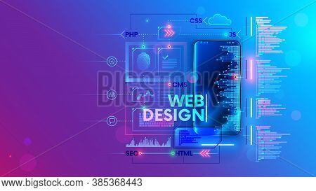 Web Develop For Mobile Phone Vector Concept. Create Software And App For Cell Smartphones. Programmi