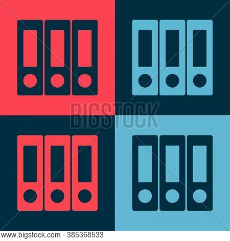 Pop Art Office Folders With Papers And Documents Icon Isolated On Color Background. Office Binders.