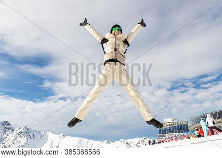 Young Adult Beautiful Happy Attractive Caucasian Smiling Hiker Woman Leaping Jumping High Like Star