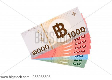 1,490 Baht Thai Banknote Money, Thai Currency One Thousand Four Hundred And Ninety Thb Concept, Isol