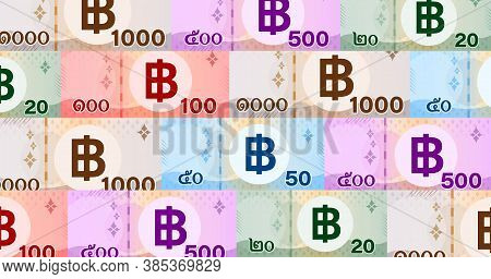 Banknote Money Thai Baht Pattern For Background, Money 1000, 500, 100, 50, 20 Baht Flat Style In Top