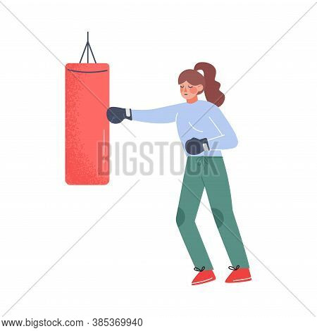 Young Woman Hitting Punching Bag With Boxing Gloves To Calm Down Stressful Emotion, Person Relaxing,