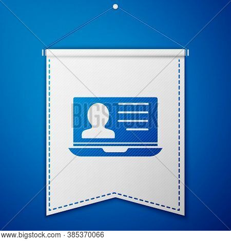 Blue Laptop With Resume Icon Isolated On Blue Background. Cv Application. Searching Professional Sta