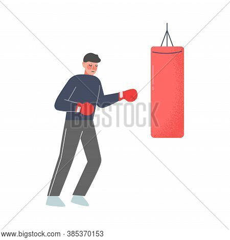 Man Hitting Punching Bag With Boxing Gloves To Calm Down Stressful Emotion, Person Relaxing, Reducin