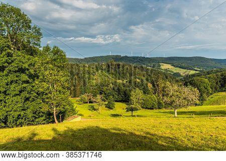 Green Hilly Landscape Near Schuttertal In The Black Forest, Ortenaukreis, Baden-wuerttemberg, German