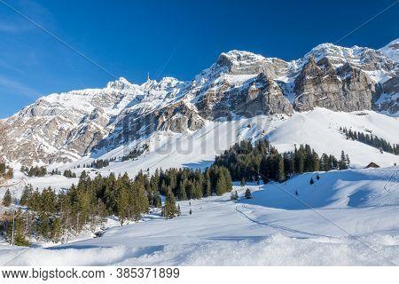 Winter Landscape With The Saentis Massif, Canton Appenzell-ausserrhoden, Switzerland