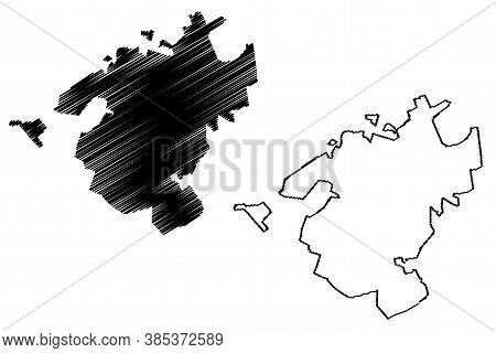 Campo Grande City (federative Republic Of Brazil, Mato Grosso Do Sul State) Map Vector Illustration,
