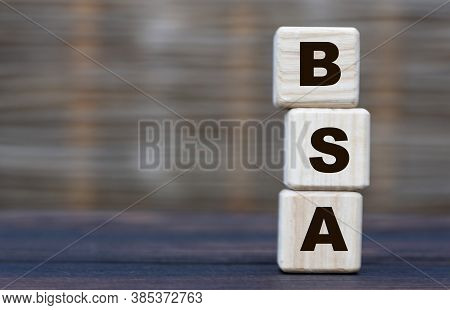 Bsa(bovine Serum Albumin) Is A Cubed Word On A Gray Blurred Background. Near Wooden Man. Medical Con