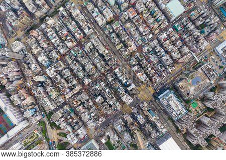 Sham Shui Po, Hong Kong 06 August 2020: Top view of Hong Kong city