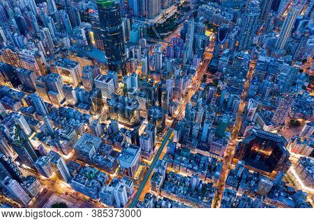 Mong Kok, Hong Kong 26 July 2020: Top view of Hong Kong city night