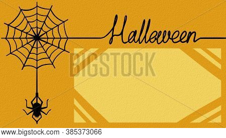 Halloween Card. Spider Web. Orange Background, Horizontal, Place For Congratulations With Beveled Co