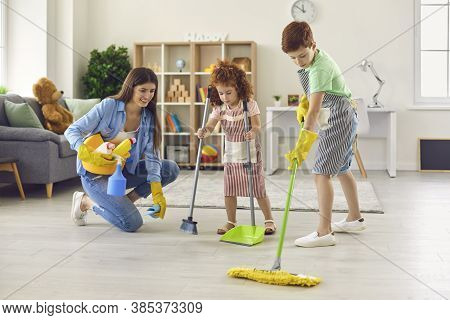 Family Cleaning House, Hygiene. Cleanliness And Tidiness. Housework, Housecleaning