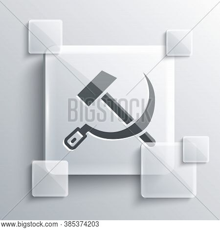 Grey Hammer And Sickle Ussr Icon Isolated On Grey Background. Symbol Soviet Union. Square Glass Pane