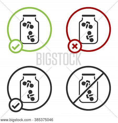 Black Fireflies Bugs In A Jar Icon Isolated On White Background. Circle Button. Vector